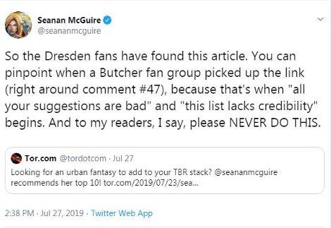 Fans of Dresden Files Slam Urban Fantasy Author Seanan McGuire